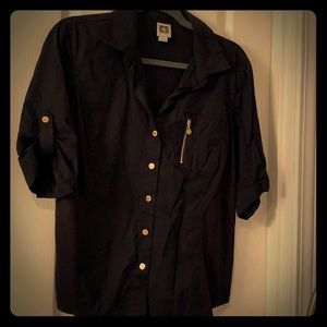1/2 Sleeve Anne Klein black and gold shirt